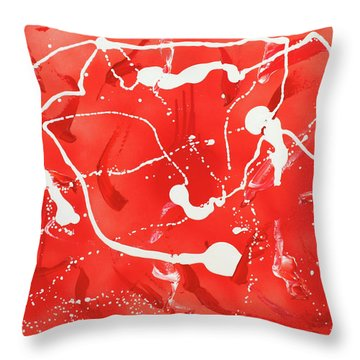 Red Spill Throw Pillow by Thomas Blood