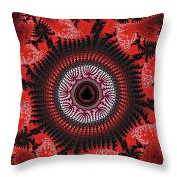 Red Spiral Infinity Throw Pillow