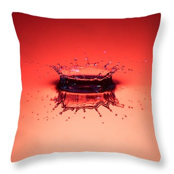 Red Splashdown Throw Pillow