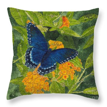 Red Spotted Purple Butterfly Batik Throw Pillow