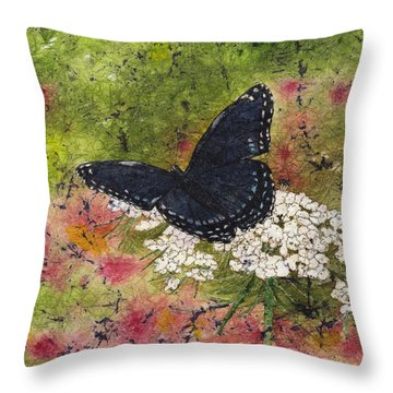 Red Spotted Purple Butterfly Queen Annes Lace Batik Throw Pillow