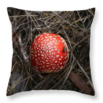 Red Spotty Toadstool Throw Pillow