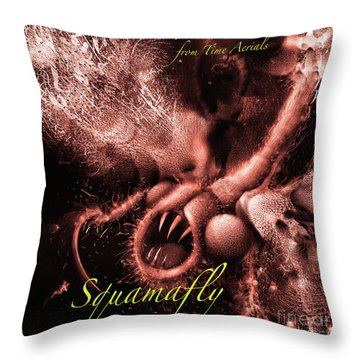 Throw Pillow featuring the digital art Red Squamafly Text by Russell Kightley