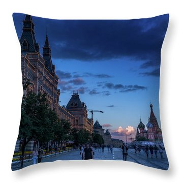 Red Square At Dusk Throw Pillow