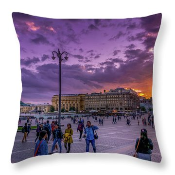 Red Square At Sunset Throw Pillow