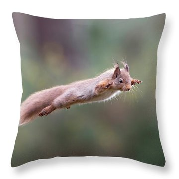 Red Squirrel Leaping Throw Pillow