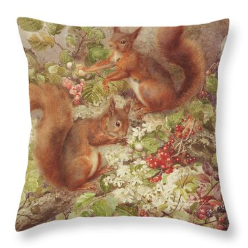 Red Squirrels Gathering Fruits And Nuts Throw Pillow