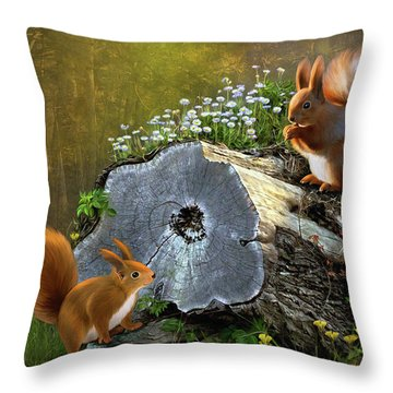 Red Squirrels Throw Pillow by Thanh Thuy Nguyen