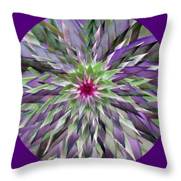 Red Star Thistle Kaleidoscope Throw Pillow