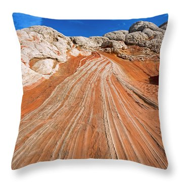 Red Stone Highway Throw Pillow