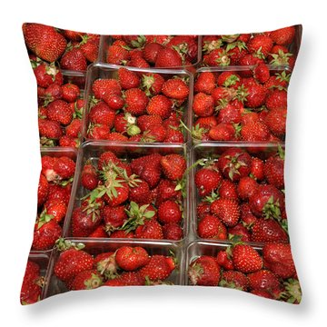 Union Square Market Red Strawberries Throw Pillow by Diane Lent
