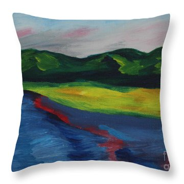 Red Streak Lake Throw Pillow