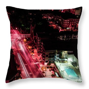 Red Streets Throw Pillow