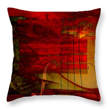 Red Strings Throw Pillow
