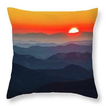 Red Sun In The End Of Mountain Range Throw Pillow