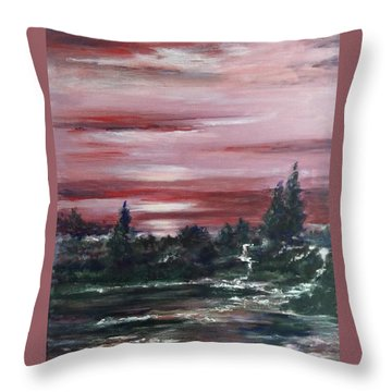 Throw Pillow featuring the painting Red Sun Set  by Laila Awad Jamaleldin
