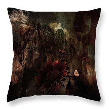 Throw Pillow featuring the digital art Red Sunflower by Richard Ricci
