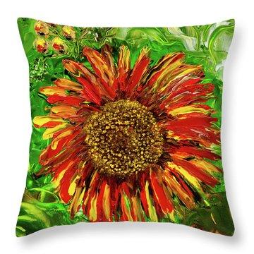 Red Sunflower Throw Pillow