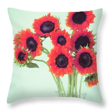 Red Sunflowers Throw Pillow