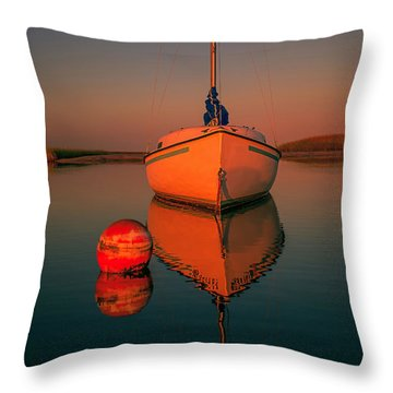 Red Sunrise Reflections On Sailboat Throw Pillow by Dapixara Art