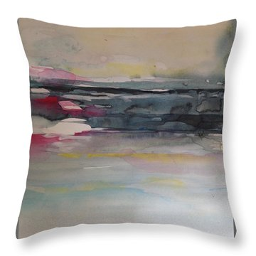 Red Sunset On The Lake Abstract Throw Pillow