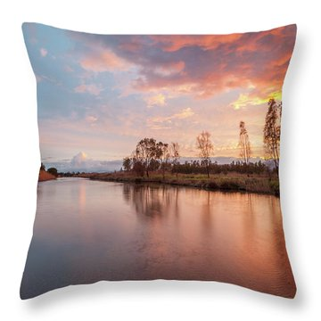 Red Sunset On The Pond Throw Pillow