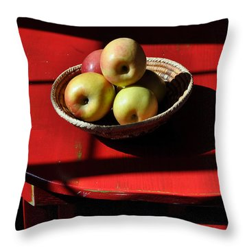 Red Table Apple Still Life Throw Pillow