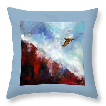 Throw Pillow featuring the painting Red Tail by David  Maynard