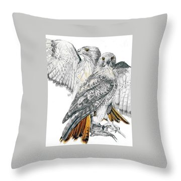 Red-tailed Hawk Throw Pillow by Barbara Keith