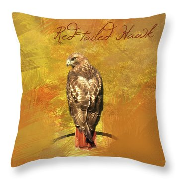 Red-tailed Hawk Watercolor Photo Throw Pillow by Heidi Hermes