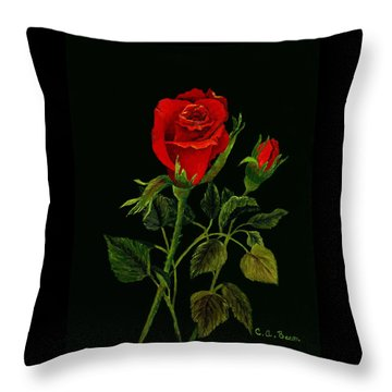 Red Tango Rose Bud Throw Pillow