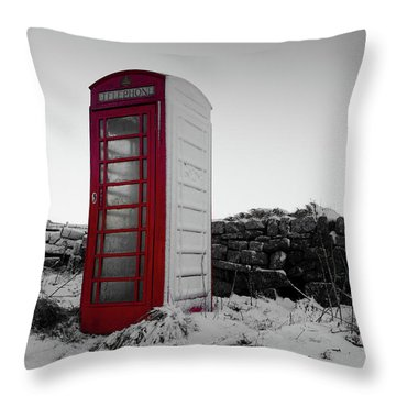 Red Telephone Box In The Snow Vi Throw Pillow