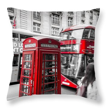 Red Telephone Box With Red Bus In London Throw Pillow
