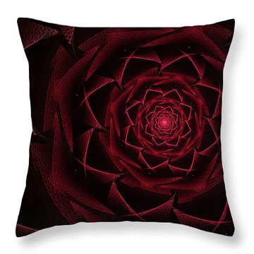 Red Textile Rose Throw Pillow