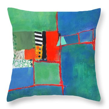 Throw Pillow featuring the mixed media Red Thread by Elena Nosyreva