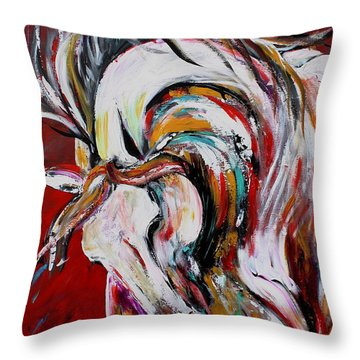 Red Thunder Throw Pillow by Cher Devereaux