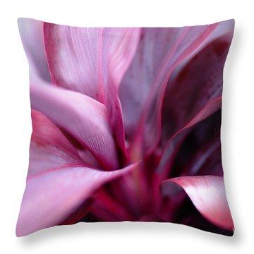 Red Ti-leaf Macro Throw Pillow
