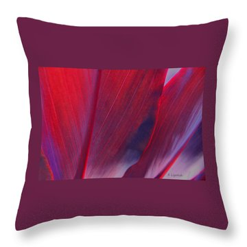 Throw Pillow featuring the photograph Red Ti Leaves At Last Light by Kerri Ligatich