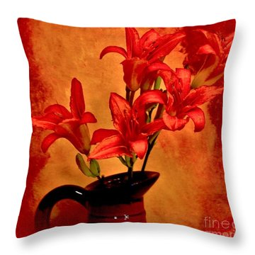 Red Tigerlilies In A Pitcher Throw Pillow by Marsha Heiken