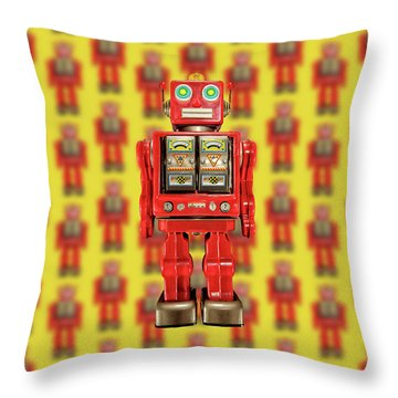 Throw Pillow featuring the photograph Red Tin Toy Robot Pattern by YoPedro
