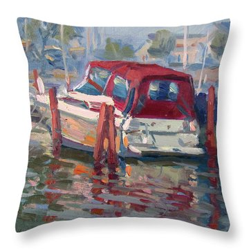 Red Top Boat Throw Pillow