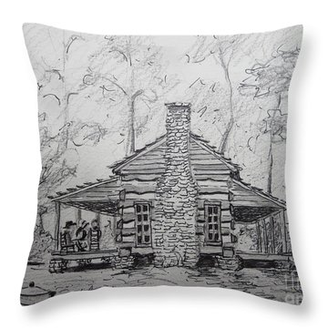 Red Top Mountain's Log Cabin Throw Pillow by Gretchen Allen