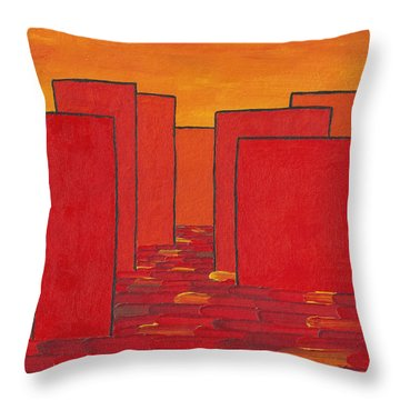 Red Town P2 Throw Pillow