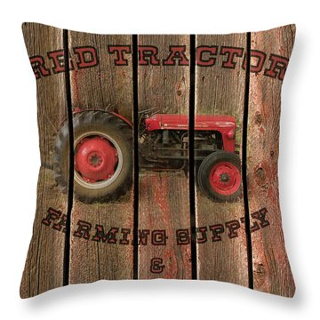 Red Tractor Farming Supply Throw Pillow
