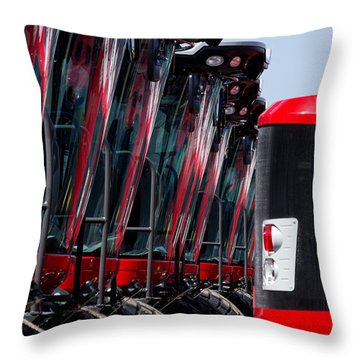 Red Tractors Throw Pillow