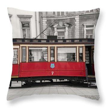 Red Tram Throw Pillow