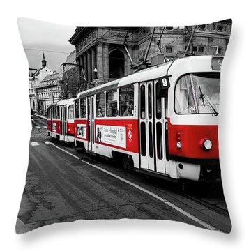 Prague - Red Tram Throw Pillow