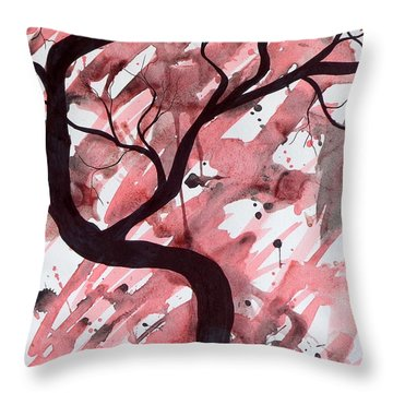 Red Tree Enchantment Throw Pillow