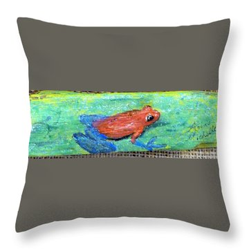 Red Tree Frog Throw Pillow