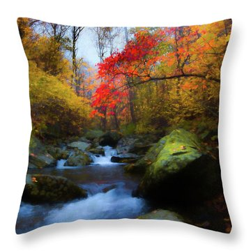 Red Tree In White Oak Canyon Throw Pillow